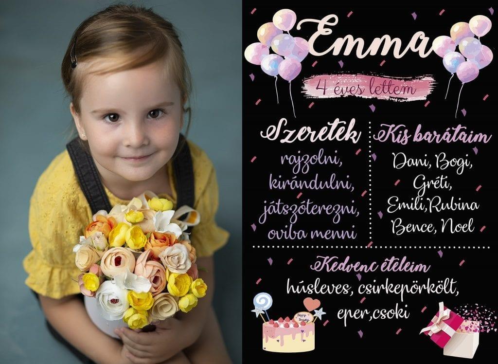 Születésnapi Gyermekfotózás Virággal Budapesti Fotóstúdióban